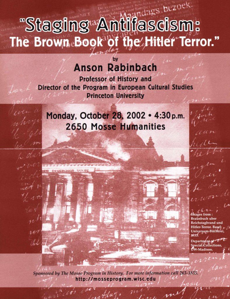 2002.10.28 - Anson Rabinbach - Staging Antifascism