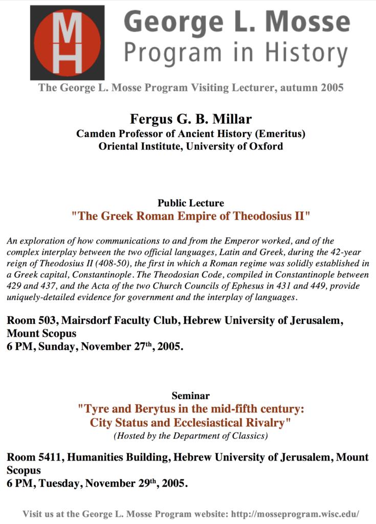 2005.11.27 - Fergus Millar - Greek Roman Empire