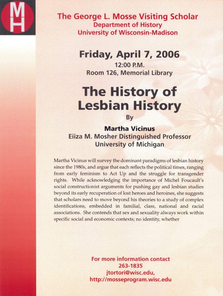 2006.04.07 - Martha Vicinus - The History of Lesbian History 01
