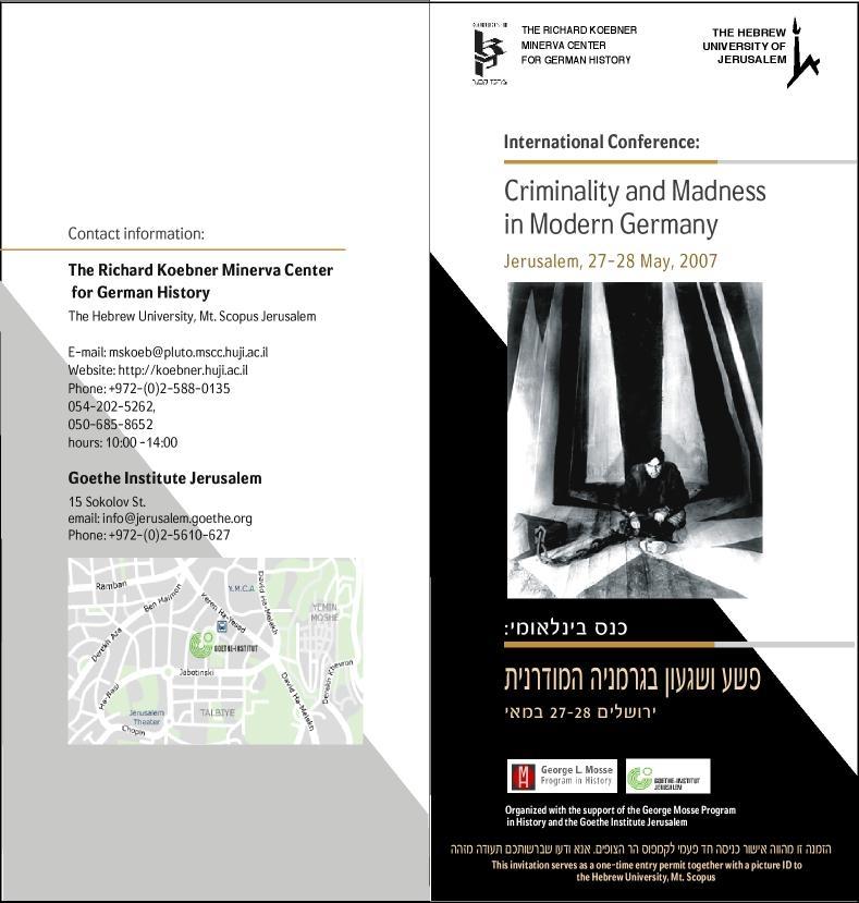 2007 - Criminality and Madness - Invitation
