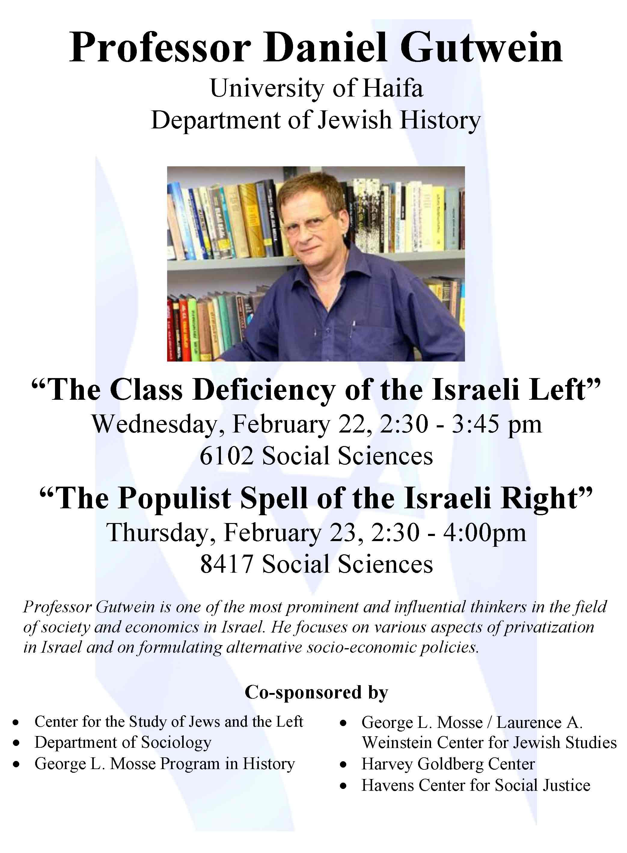 2017.02.22 - Daniel Gutwein - Israeli Politics 02