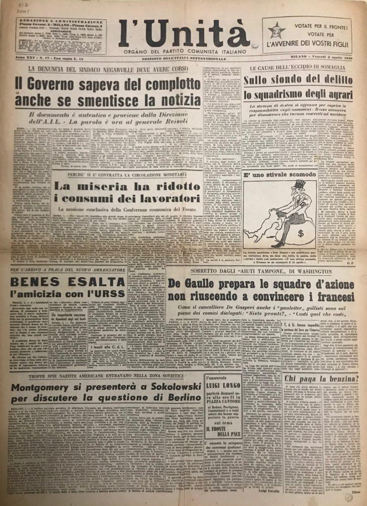 Image 5: L'Unità. Organo del Partito Comunista Italiano. Milano, April 2nd 1948.