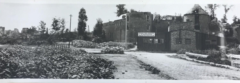 Panoramic photograph of the destruction of Chateau de Péronne, Péronne, France