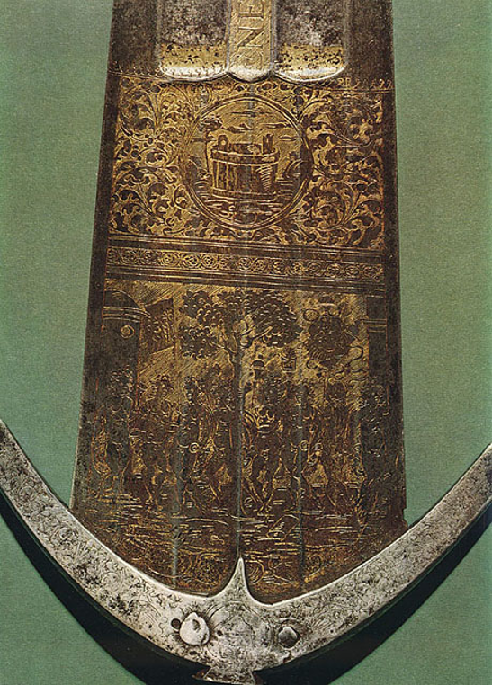 Detail of the engraved blade of the cinquedea Salomone / Ercole produced for Cesare Borgia, currently held by the Fondazione Camillo Caetani, Rome.